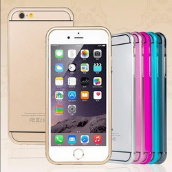 New Fashion Ultra Thin ARC edge Aluminum Metal Bumper + PC Hard back Cover Cases For iphone 6 plus 5.5 inch