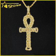 "King Tut Egyptian Ankh Pendant 24k Gold-Plate with Gold-Plate 18"" Chain"