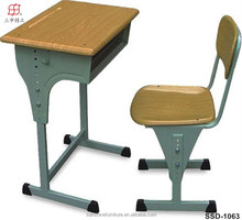 newly school furniture used wood cheap school desk / school sets single desk / school desk and chair of shandong