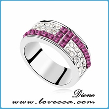 Gift for lover pink and white zircon ring