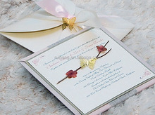 luxurious wedding invitation card with butter fly