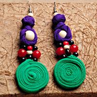 Colorful knit fabric pendant earrings,DIY artificial drop earrings