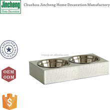 Decorative silver rectangular croco leather dog food bowls, dog water bowl, cat bowl