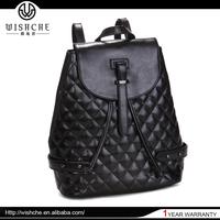 Wishche Guangzhou Genuine Leather Manufacture High Quality Brand Girls Backpack Bag Fashion Leather Black Backpack China W1602