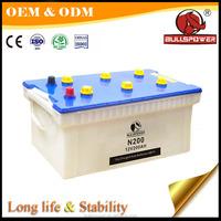 mf car battery 12v 200ah dry charge battery N150