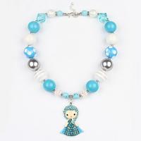 Hotsale Princess Elsa Pendant Beads Necklace Kid's Necklace