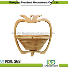Eco-friendly hot selling high quality top solid bamboo constructions apple shape bamboo folding fruit basket