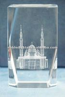 3D Laser Engraved Masjid Islamic Mosque Crystal Building Models