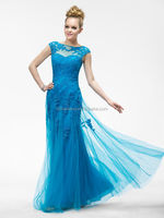 HT285 Elegant blue mother of the bride tea length dress lace and chiffon mother of bride dress