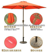 9' FT Feet=2.7m orange Market Patio Garden Umbrella steel pole polyester Cover style New
