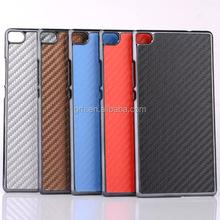carbon fiber leather coated chrome hard back case #11 for Huawei Ascend P8