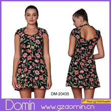 Moda Mujer Cap Sleeve print floral vestido damas traje