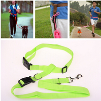 Top quality New Buddy System Hands Free Nylon Pet Dog Leash Lead Running Jogging Hiking Training Walk for Dogs 7 Colors 200pcs