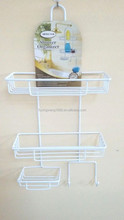 Metal Shower Caddy with Suction Cups-White PE coat-Great Bathroom Organizer