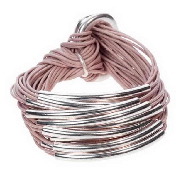 Many Choose Multi Strand Black Leather Bracelet Gold Bar Cord