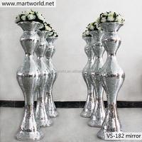 2015latest luxury wedding bling mirror surface glass fiber vase column pillar for wedding,hotel,party decoration (VS-182M)