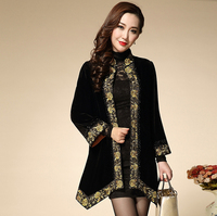 SC-DS Women Coat 2015 New Autumn Winter Fashion Plus Size 5XL Luxury Gold Line Full Sleeve Covered Button Slim Embroidery Coat