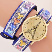 New product fashion Eiffel Tower Crystals natural Stone Vintage watches Quartz Women Wrist watch