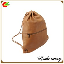 Faux Leather small Drawstring Backpack bag waterproof for students