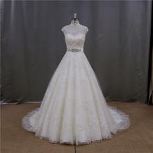 Elegant scoop neck royal red and white wedding dresses