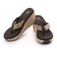 2014 lady's soft leather sequins sandal women Beach home flip flops slippers flat wedge sandals ST00042 b