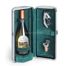 Aluminum metal wine carrier 1 bottle gift wine case ZYD-LX7285