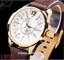 Mejores ventas hombre maduro relojes correa de cuero marrón relojes hombre