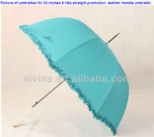 23 Inch 8 Ribs Popular Curved Handle Straight Dots Printing Souvenir Ladies Umbrella