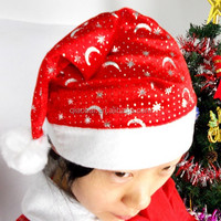 2014 Newest Christmas Fashion Non-woven Fabric Sequins Adult Cheap Santa Hats with star and moon