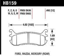Hawk Performance HB159F.492 Disc Brake Pad Escort Miata Protege Tracer Venture...