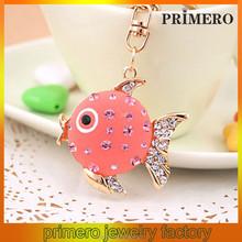 PRIMERO Female packs ornaments jewelry Fish cartoon car key chain Alloy crystal key chain animal keychain
