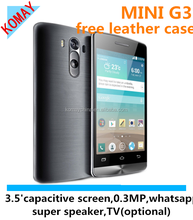 KOMAY free leather case pda mini g3 mobile phone with 3.5 inch capacitive screen and whatsapp function