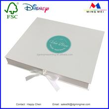 Hot stamping custom folding gift Paper Box with ribbon close