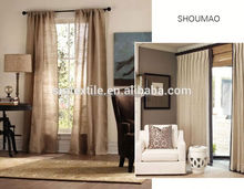 Blackout ready made linen fabric curtain for living room