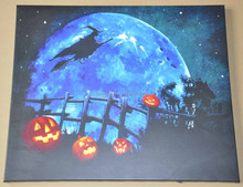 Art and gifts halloween decoration witch and pumpkin lanterns painting on canvas with led lights