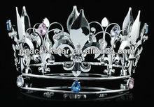 "Wholesale Fleur De Lis 5"" Full Circle Simulated Sapphire Silver Men's King / Women Queen Crown CT1718"