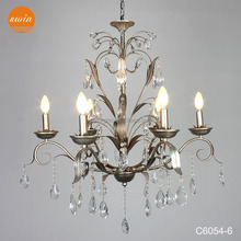chinese candle crystal chandelier for hotel, antique silver iron leaf pendant light with UL/CE