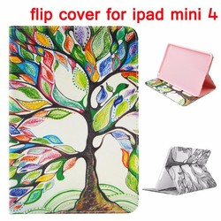 2015 Newest Wallet Style Magnetic Stand TPU Leather Flip Cover for iPad Mini 4