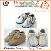 MOQ 200/ mix 3 designs baby leather moccasins shoes for newborn