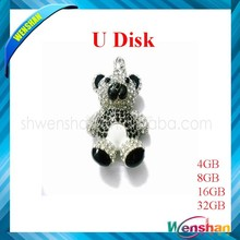 Top sell lovely crystal koala bear shape gift jewelry usb flash drive,OEM usb memory with 100%full capacity