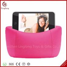 Practical desktop pink cell phone stand holder stuffed bean bag soft mobile phone holder
