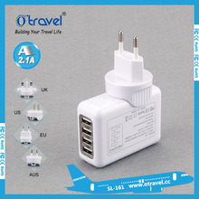 4 USB Port 5V 2.1A Quick Travel Charger USB AC Wall Charger US Stand Plug with EU Adapter for iPhone iPad Samsung Galaxy Tab