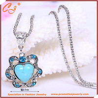 European and American fashion personality classic heart-shaped Necklace Turquoise frosted lace factory direct