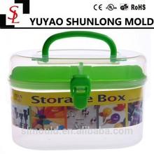 2015 Hot sale portable handle transparent plastic double layer knitting box storage box