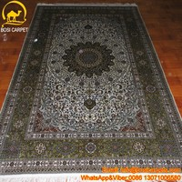 5x8ft Large pure silk oriental estate blue handmade carpets and rugs tree of life carpet
