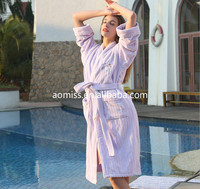 100% cotton shawl collar stripe velour bath robe sleepwear for five star hotels