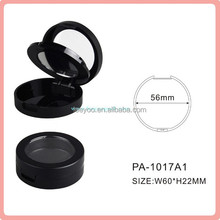 PA-1017A1 matte black blusher compact plastic cosmetic packaging case