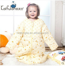 100% cotton baby child anti kicking sleeping bag detachable sleeve and detachable fillings quilt for four seasons yellow style
