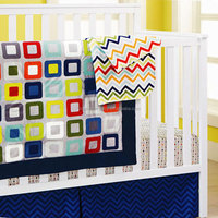 baby boys crib bedding set square block design