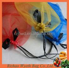 hdpe knitted vegetable packaging black drawstring net bag